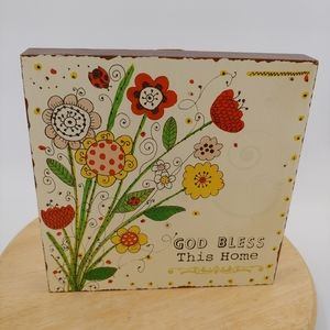 God Bless This Home wood sign whimsical flowers